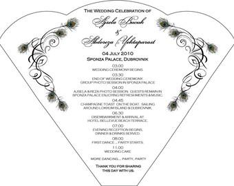 SET OF 25 Vintage White Peacock Design Wedding Itinerary