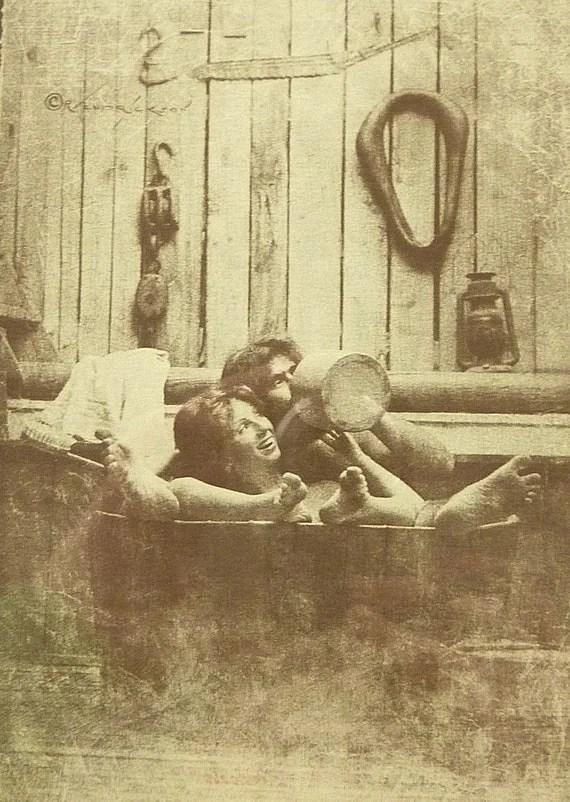 R Hendrickson Sepia Print Couple in Tub