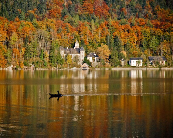 Fall Wallpaper Lake Hallstatt Austria Alps Autumn Fall Green Yellow Lake Fine