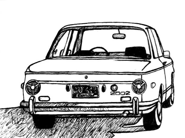 BMW 2002 / Classic Car Drawing / Limited Edition by
