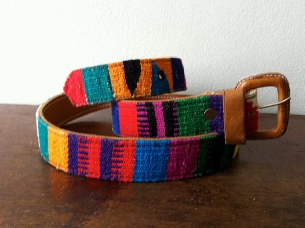 Guatemalan Woven And Leather Belt Ethnic South America Native