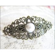 vintage style barrette pearl