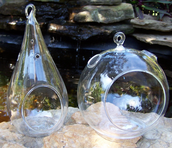 Terrarium Glass Hanging Teardrop or Round Indoor Gardening DIY Wedding Centerpieces