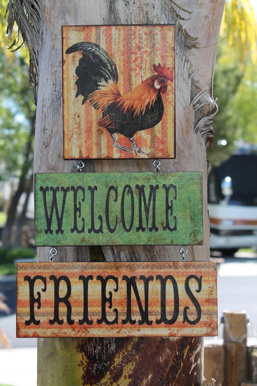 Rooster Lover SignWelcome Friends Door SignWall