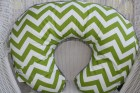 Lime Chevron and Navy Minky Boppy Cover