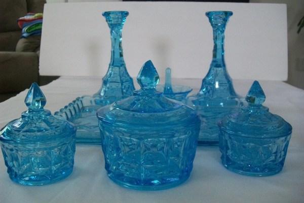 Vintage Antique Blue Glass Vanity Set With Registration