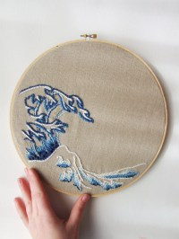 Embroidery Hoop Art Modern Japanese Wave Wall Art Upcycled