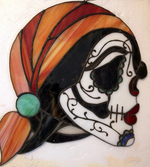 Stained Glass Day Of Dead Sugar Skull Suncatcher Unique