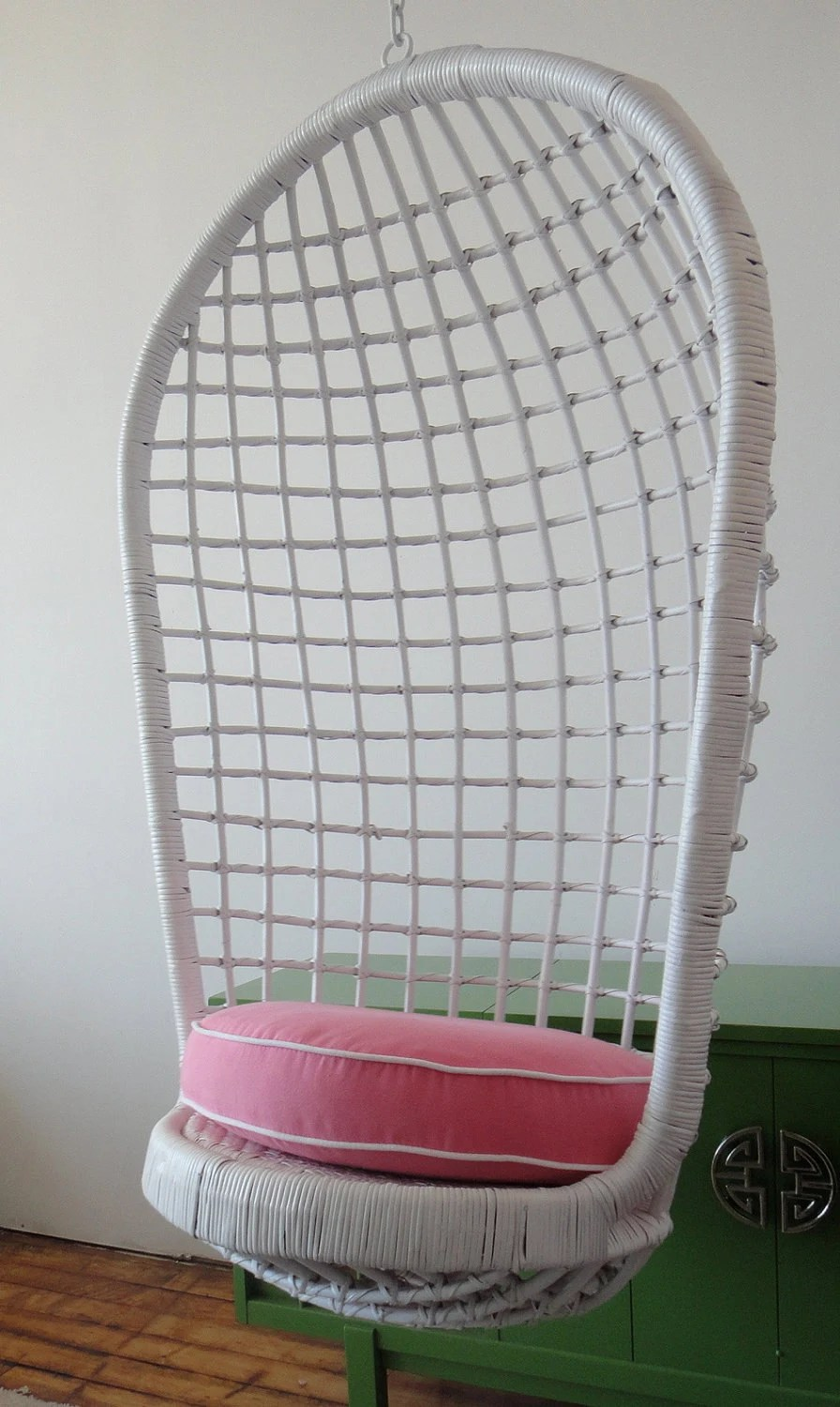 egg chair cushion covers and bows for sale hanging basket rattan wicker pink white