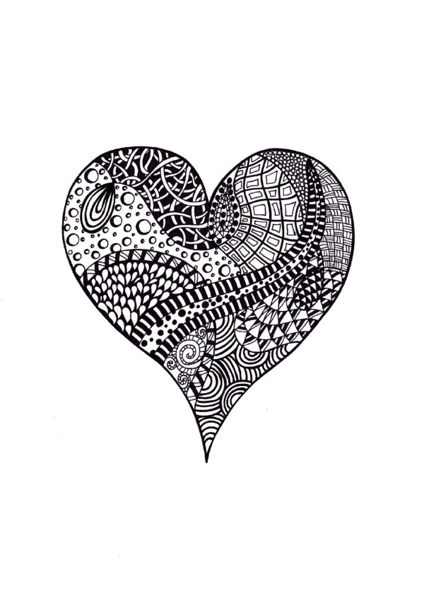 Abstract Heart Print Valentine' Day Zentangle Inspired