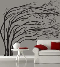 Modern black blowing tree wall decal silhouette by ...