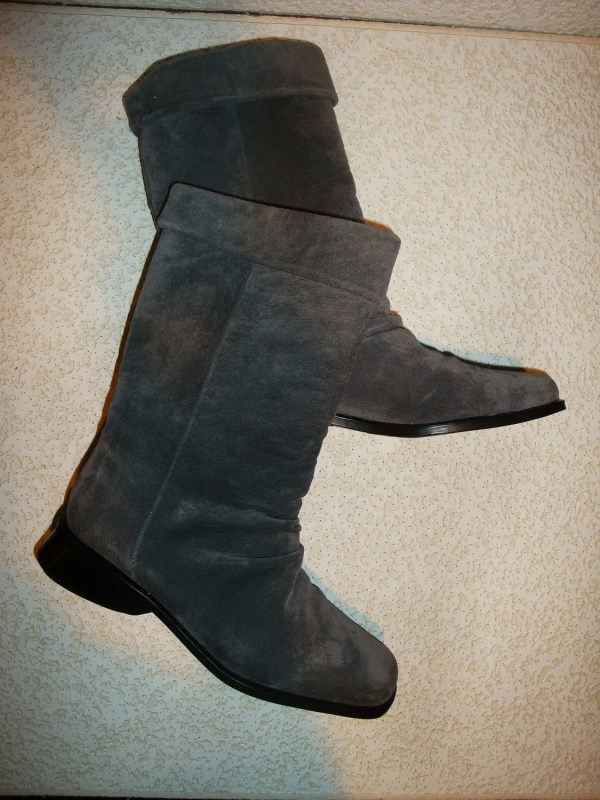Gray Suede Slouch Boots Shout 80s Women'