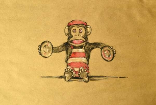 Vintage Monkey Toy Drawing Art 12x18