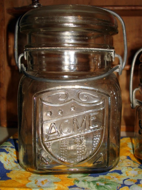 Pint Canning Acme Jar With Glass Lid And Metal