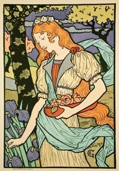 Items Similar To ART NOUVEAU Lithograph Print By Famous