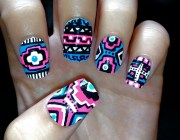 blue and pink neon aztec tribal