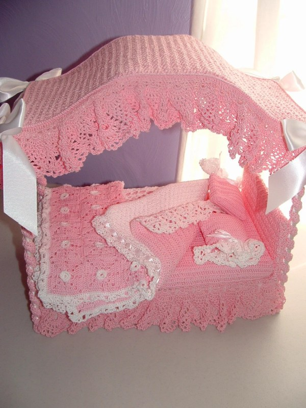 Barbie Doll Canopy Bed In Crochet Custom Order
