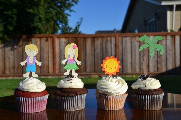 Hawaiian Luau Cupcake Toppers