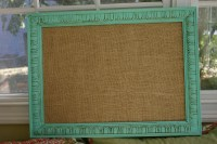 Shabby Chic Bulletin Board in Tiffany Blue w/ Burlap Medium