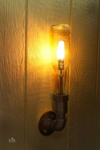 Wall Light. Lamp. Beer bottle Plumbing pipe & fittings. Wall