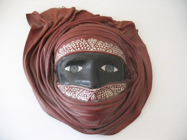 Moroccan Leather Mask Of Woman Handmade And Handpainted