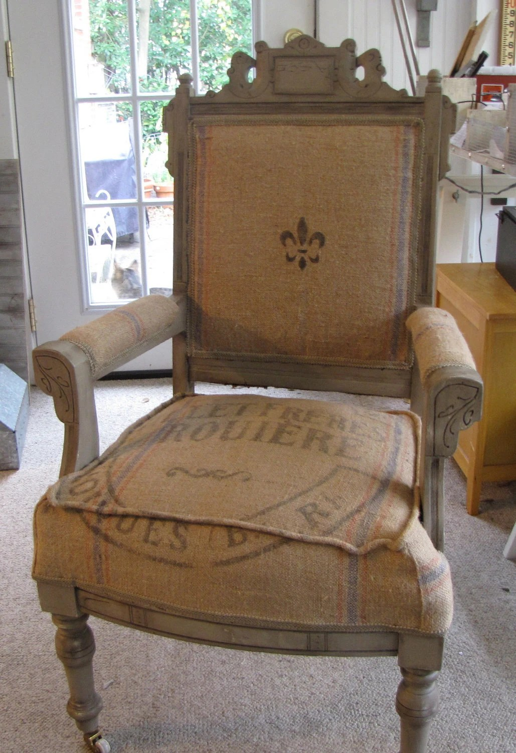 Vintage Chairs Antique Eastlake Victorian Chair Covered With Antique French