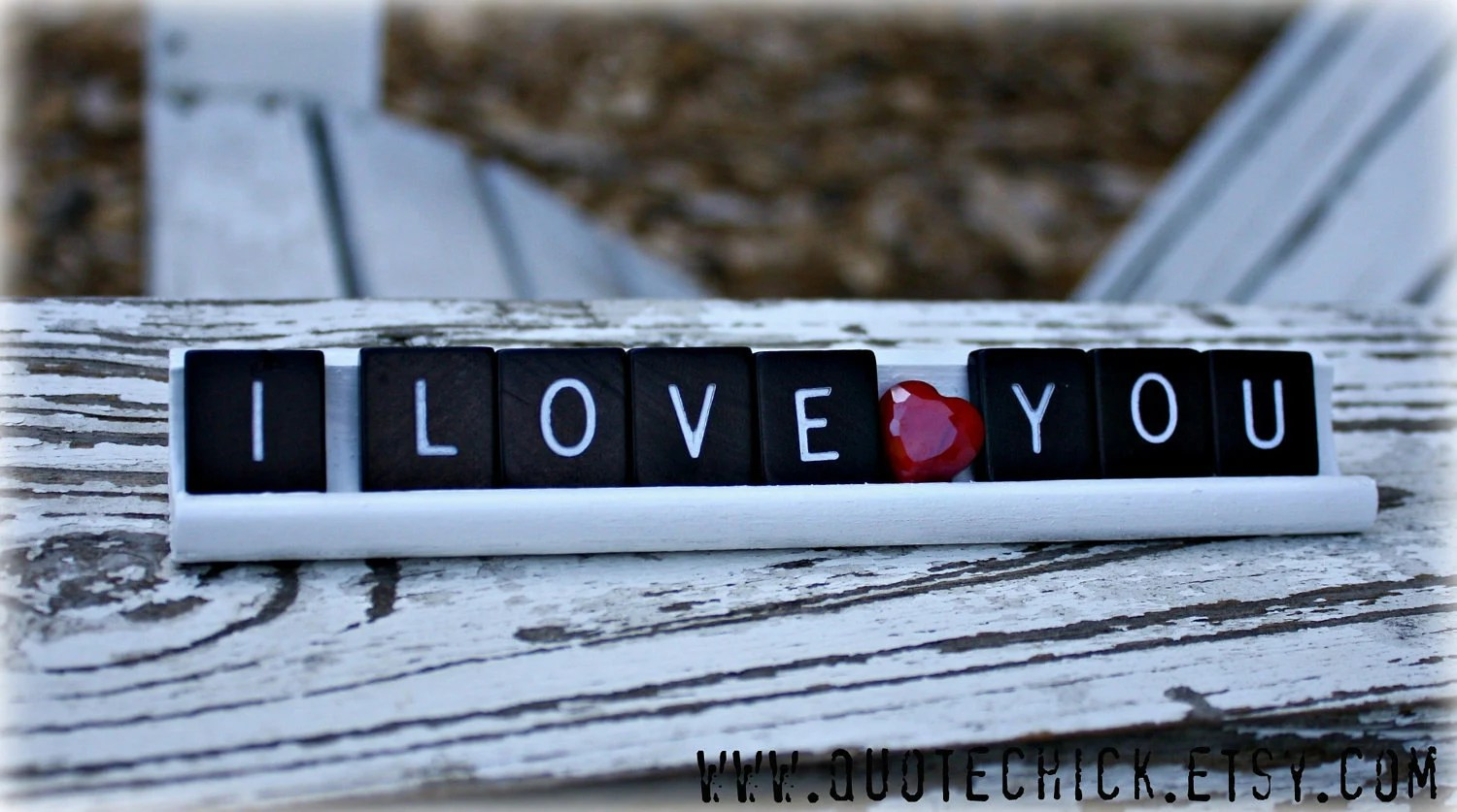 Scrabble Tile Rack Sign - I Love You