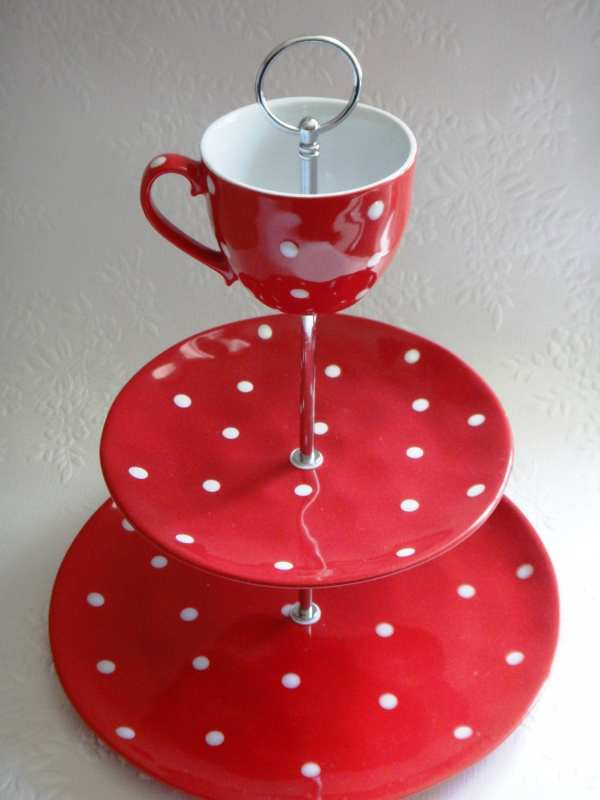 3 Tier Mw Red Sprinkle Cake Stand White Spots Polka