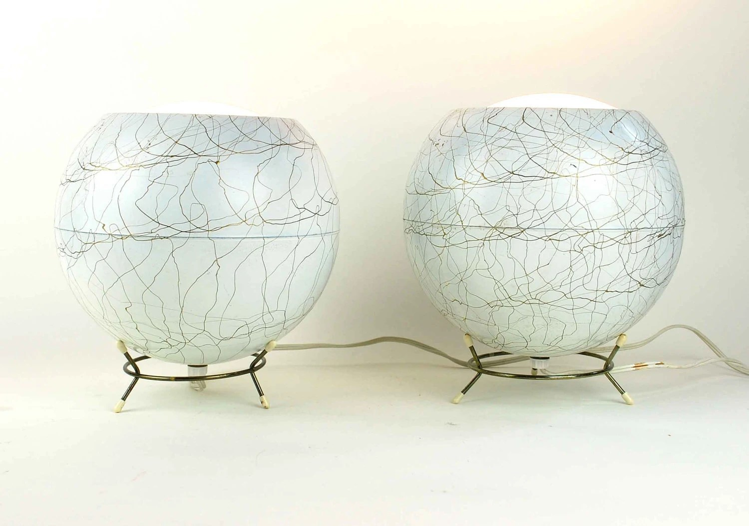 Pair of Vintage Eyeball Lamps with Original Metal Bases, White and Gold Mid-Century Orb Lights - independencevintage