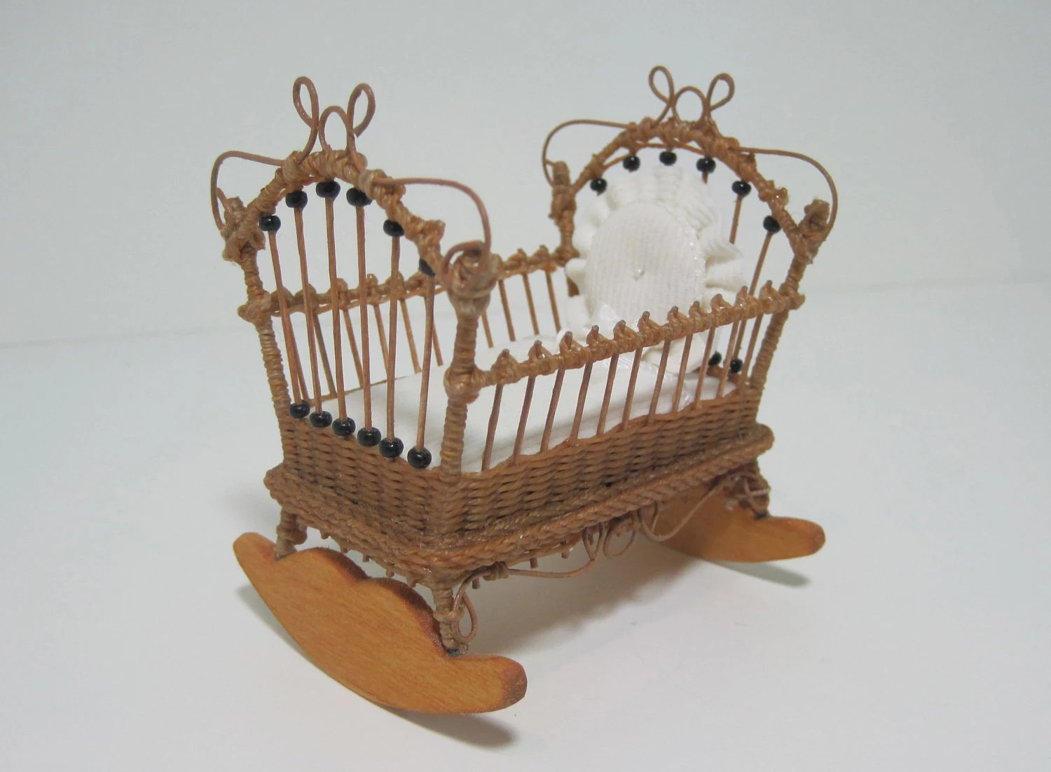 rocking chair crib combo reclining game made to order miniature wicker cradle for dollhouses 1