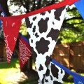 Cow print with blue amp red bandanas banner bunting by giddygumdrops
