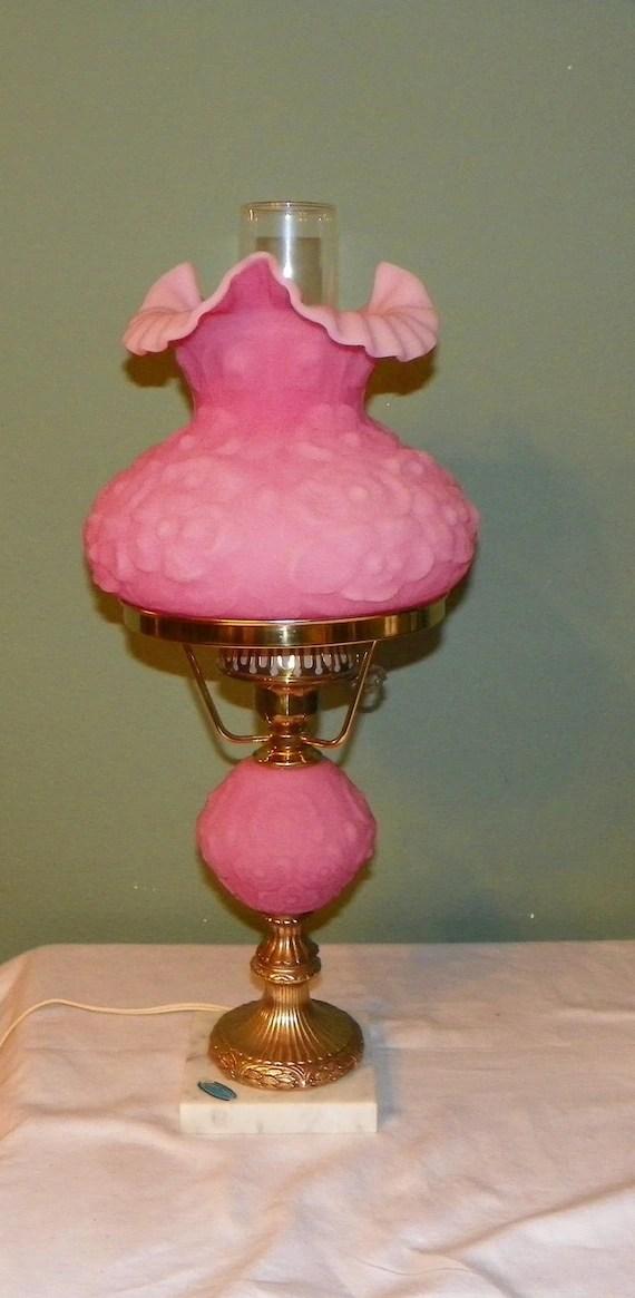 Vintage Fenton STUDENT LAMP Poppy Pink Satin Glass by