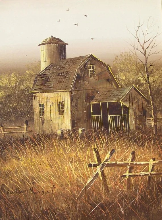 Vintage Midwest Barn Painting On Canvas Original By