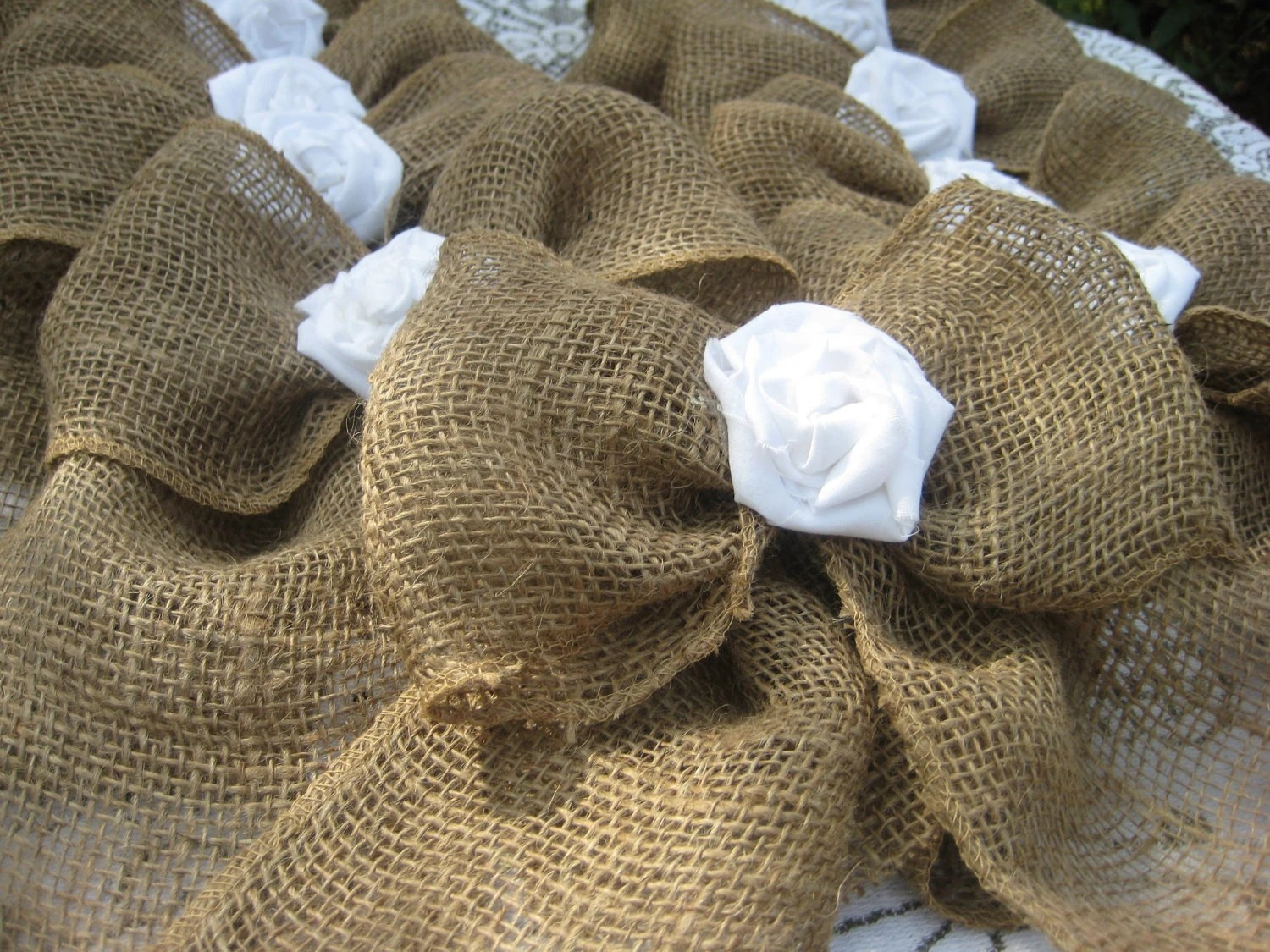 burlap bows for wedding chairs gaiam ball chair bow pew fabric rose