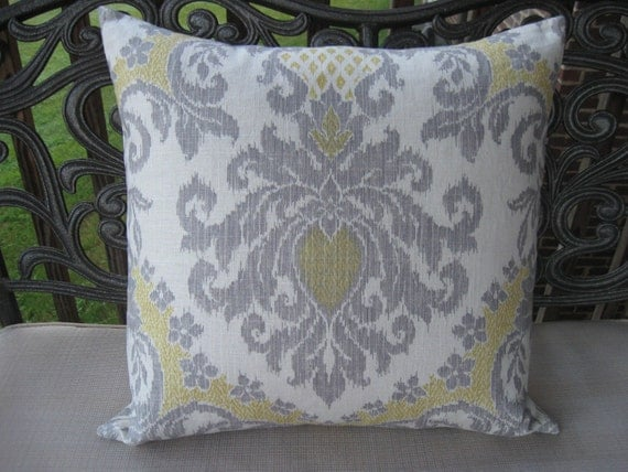 Decorative Pillow CoverYellow and Grey 22x22 ikat