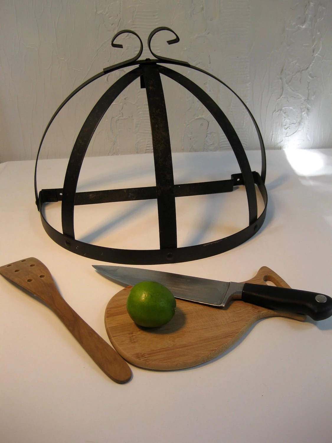 Vintage Wrought Iron Pot Rack or Decorative Wall by
