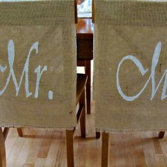 Burlap Chair Covers Wedding Navy Accent Chairs Mr And Mrs Decor Set Of 2 Backs