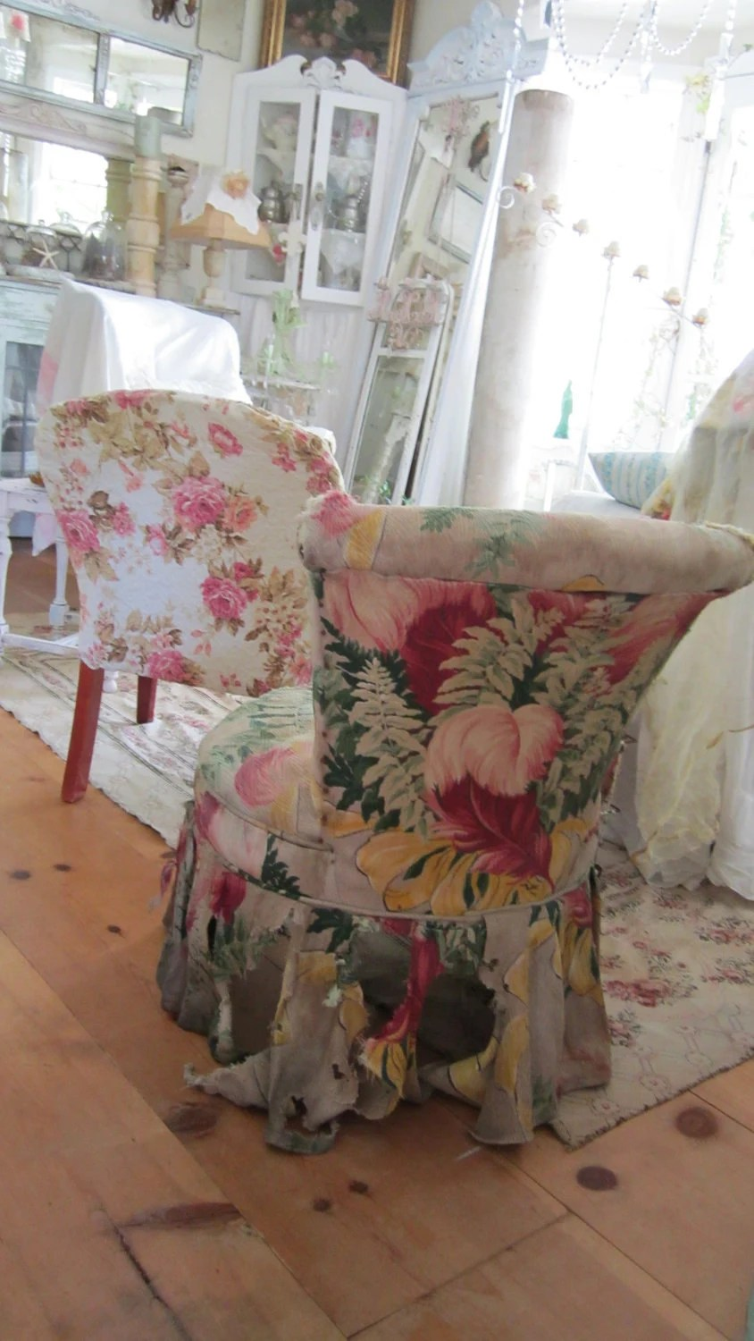 Vintage slipper chair with barkcloth FREE SHIPPING shabby chic