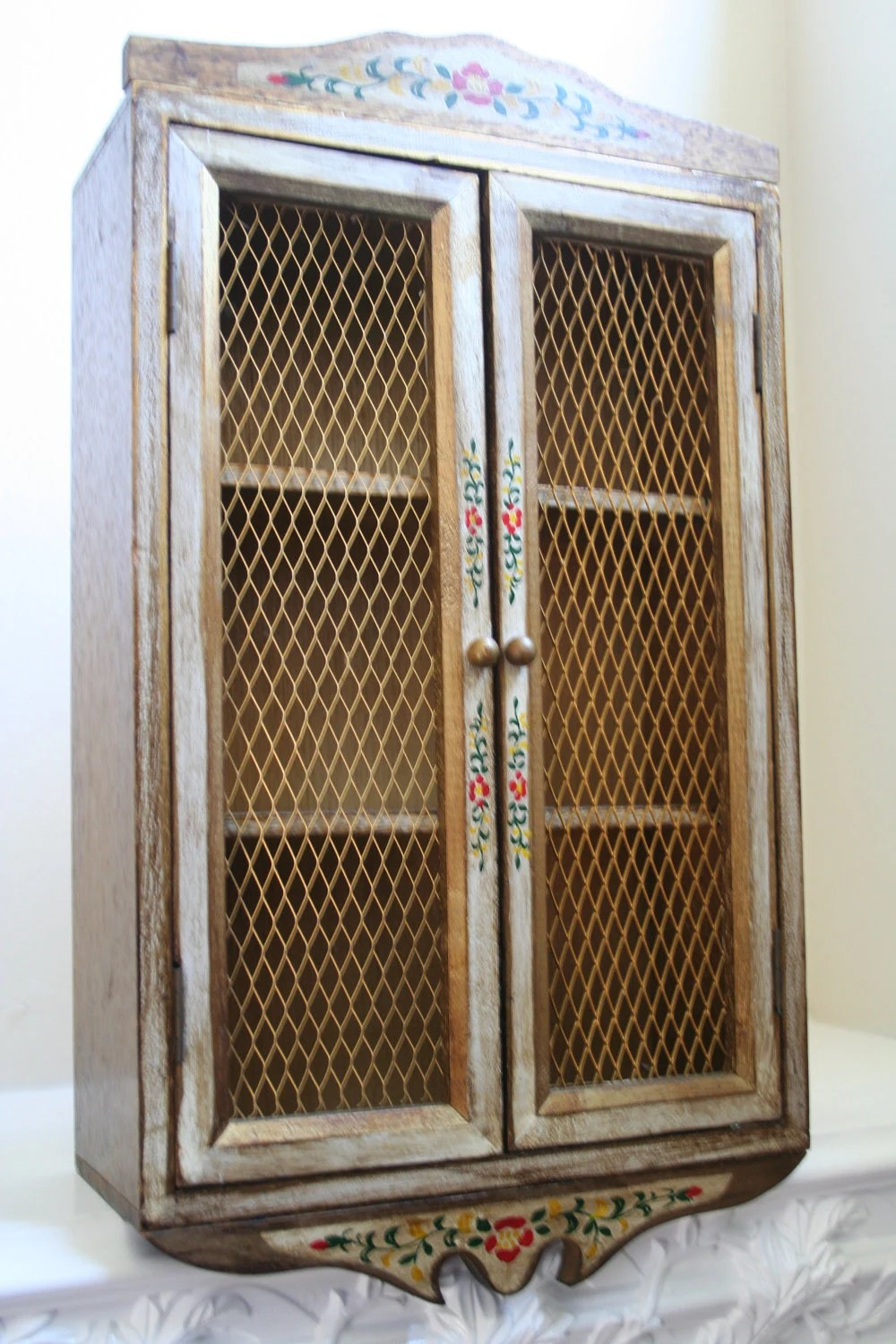 Handpainted Curio Wall Cabinet Chicken Wire Doors