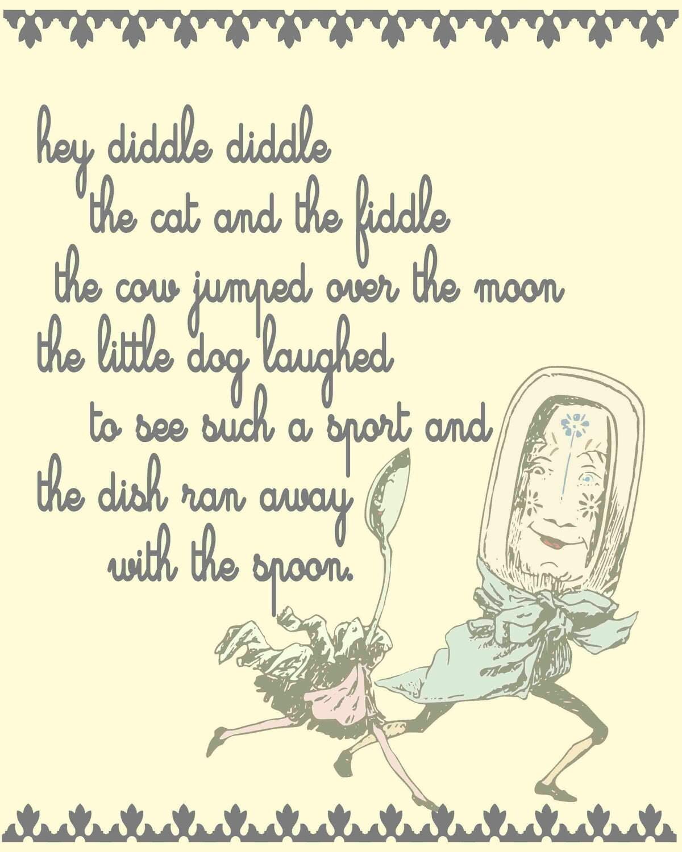 Nursery Print Nursery Rhyme Hey Diddle Diddle By Lexiphilia