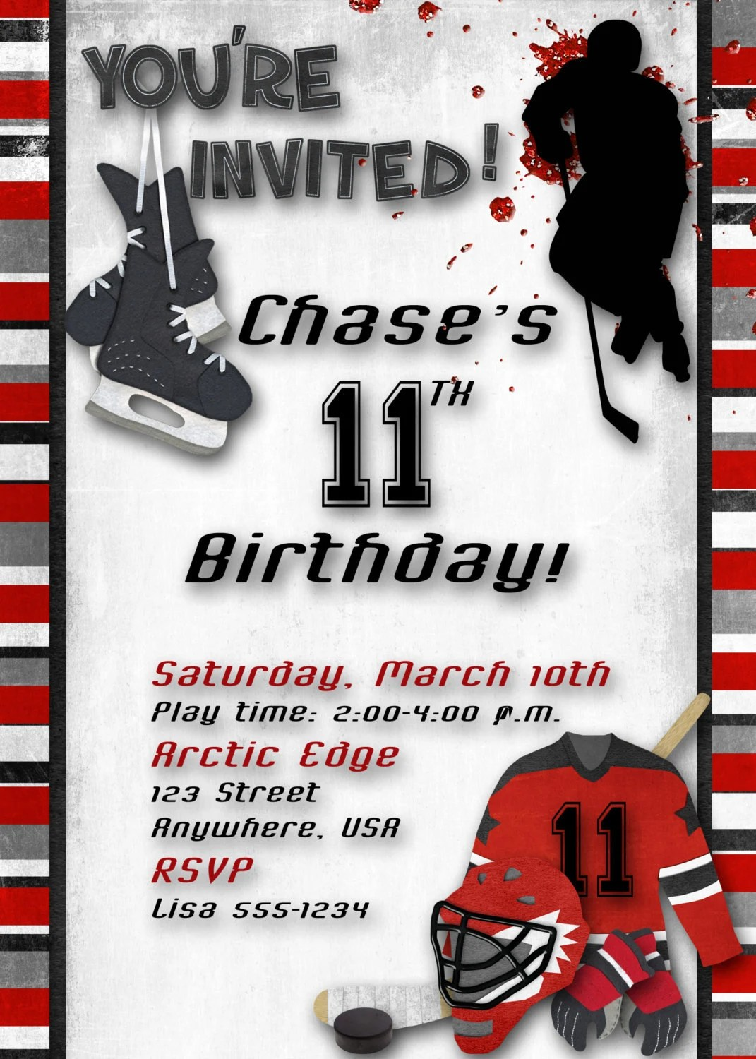 Hockey Birthday Party Invitation Red By DecidedlyDigital