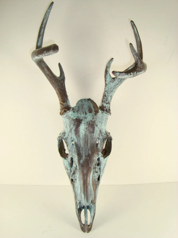 Bronze Natural Patina Deer Skull Art Mayajadecreations