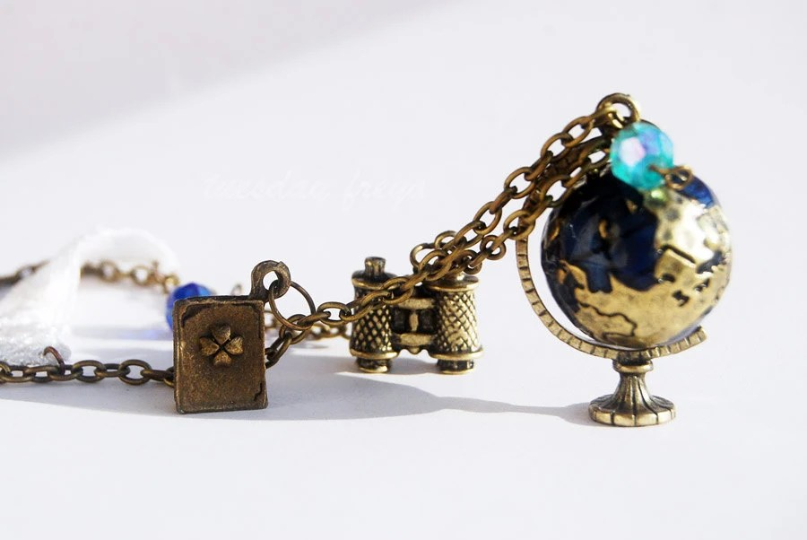 Around the world - a miniature rotating globe necklace