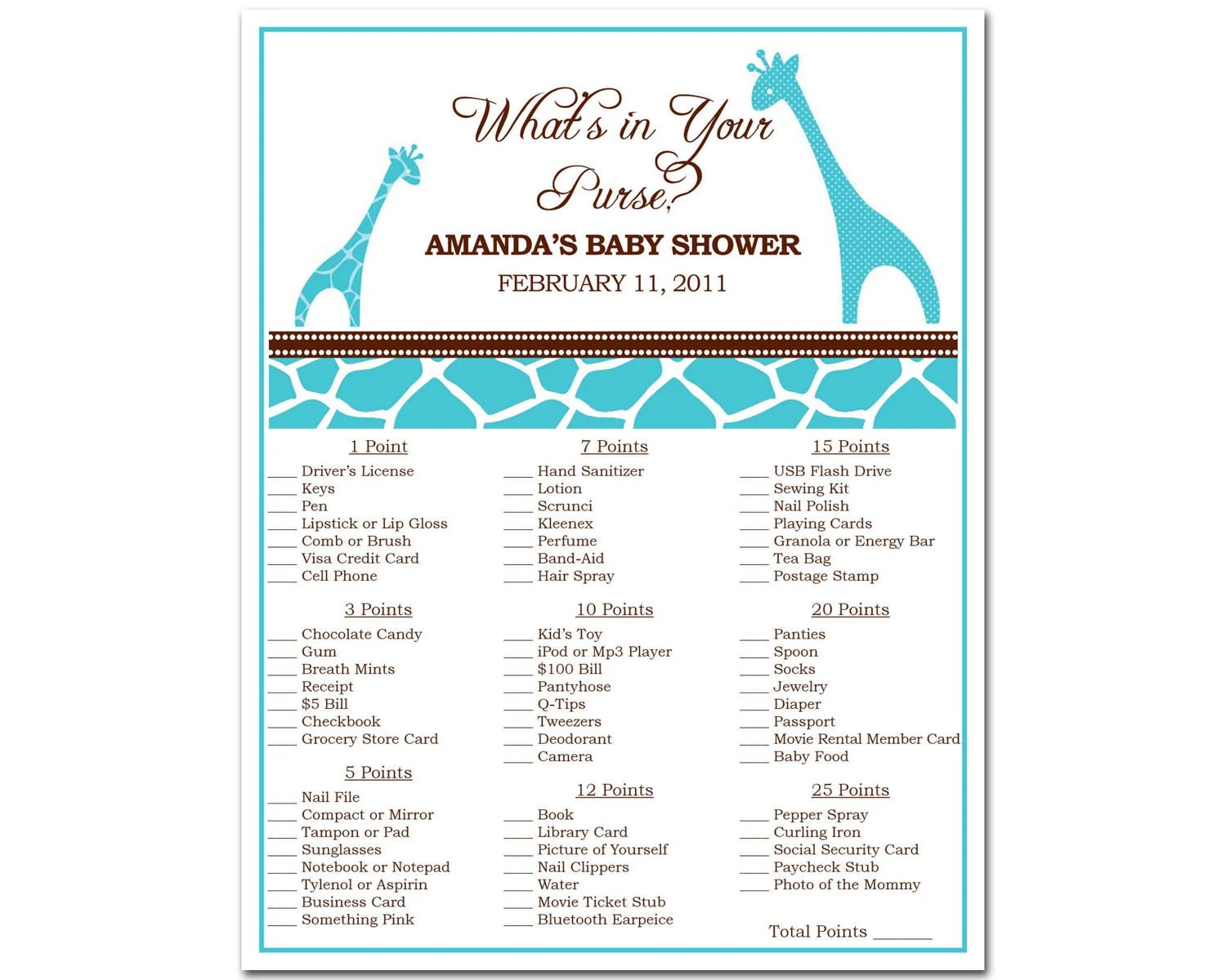 Printable Giraffe Safari Baby Shower What S In By Bdesigns4you