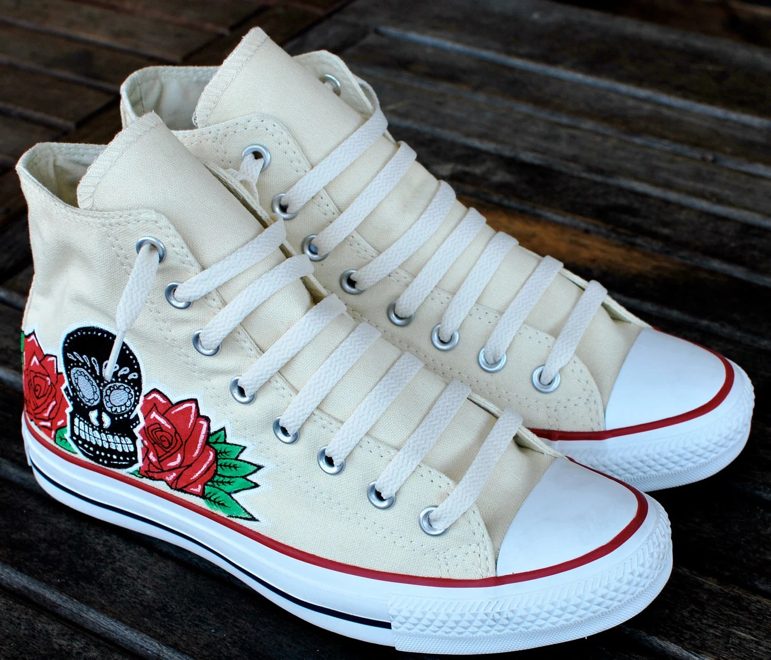 Items similar to Dia De Los Muertos Skull and Roses BKLYN graffiti custom hi top Chuck Taylor