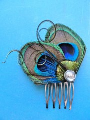 joelle peacock hair comb feather