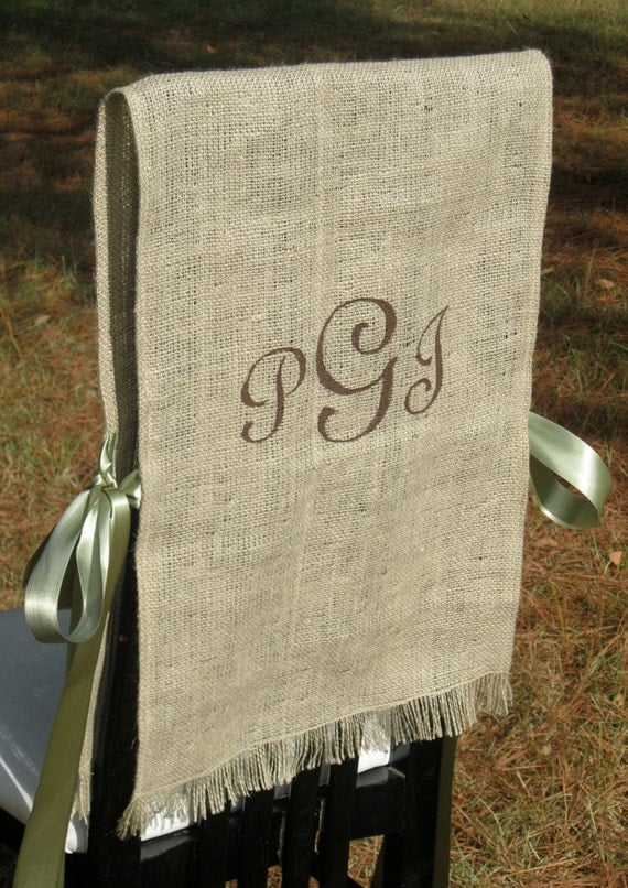 Items similar to Burlap Bride and Groom Chair Covers