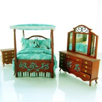 TEAL & CHOCOLATE BROWN Victorian Canopy Bedroom Set