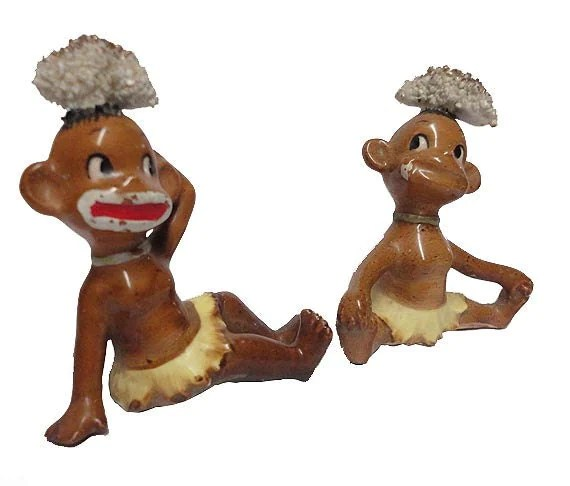 Vintage Black Americana Figurine Pair Native Island Cannibal