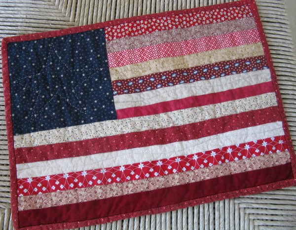 Scrappy American Flag Quilted Wall Hanging Table Topper